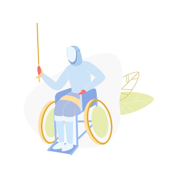 Competição paraolímpica, desativar esgrima em cadeira de rodas Vetor Premium