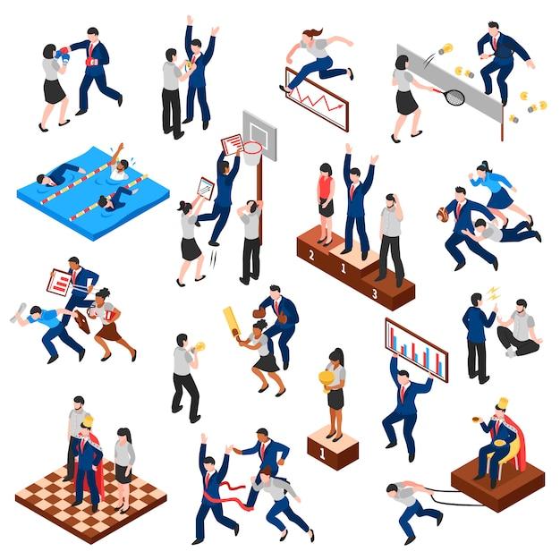 Competições de conjunto isométrico de personagens de negócios Vetor grátis
