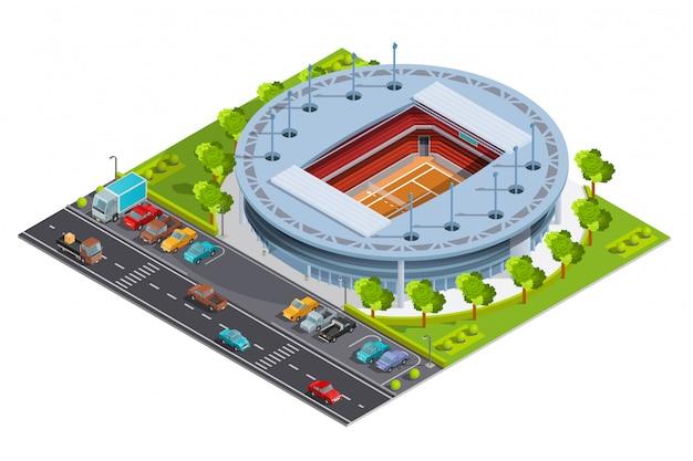 Complexo esportivo de tênis com quadra aberta Vetor grátis