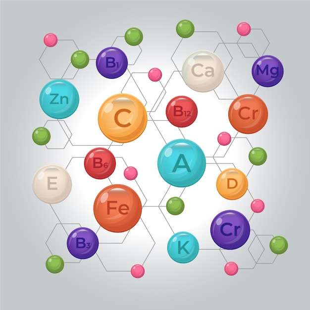 Complexo essencial de vitaminas e minerais com links Vetor grátis