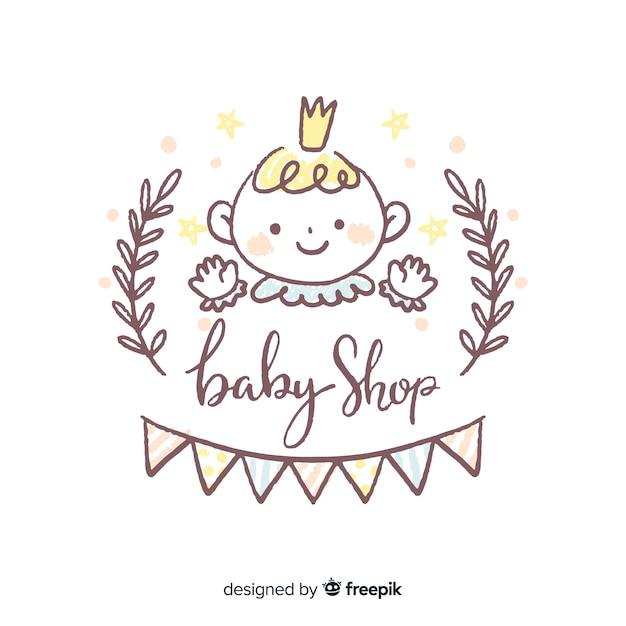 Composição adorável loja de bebê Vetor grátis