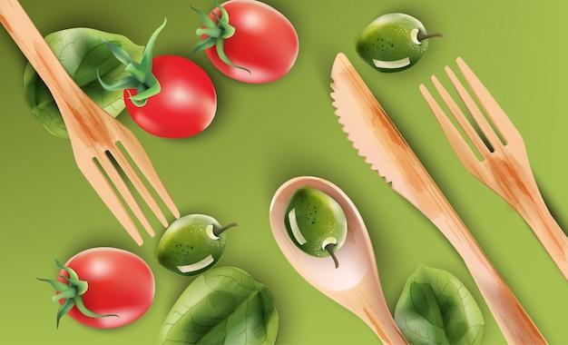 Composição aquarela com utensílios de madeira e legumes Vetor Premium