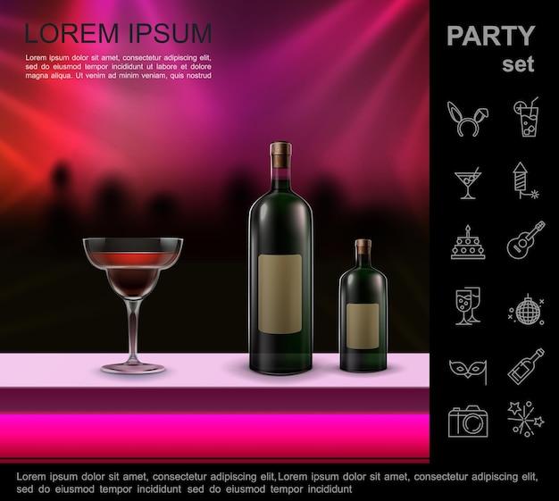 Composição brilhante de discoteca noturna realista com coquetel e garrafas no balcão do bar dançando pessoas silhueta de multidão e ícones de festa Vetor grátis
