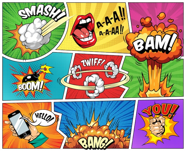 Composição brilhante em quadrinhos com raios de meio-tom explosivos Vetor grátis