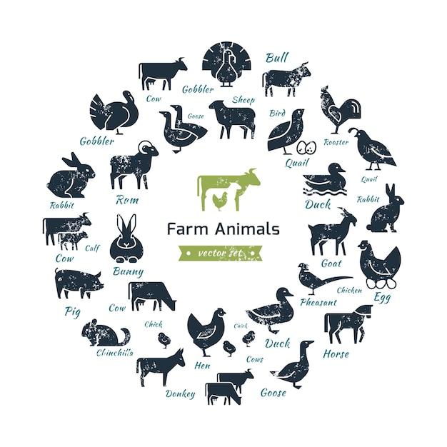 Composição circular de silhuetas de animais de fazenda. Vetor Premium