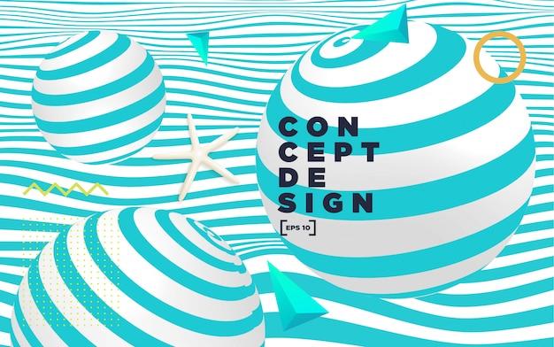 Composição colorida abstrato com elementos geométricos. Vetor Premium