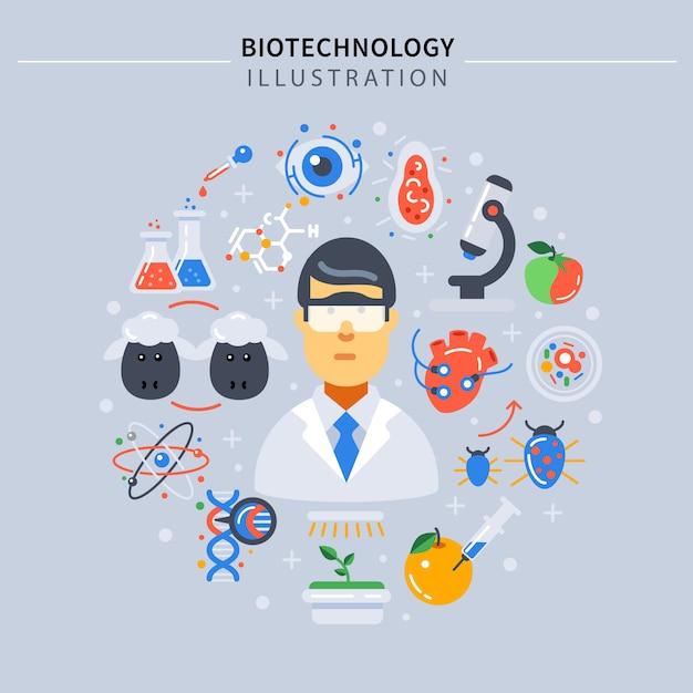 Composição colorida de biotecnologia Vetor grátis