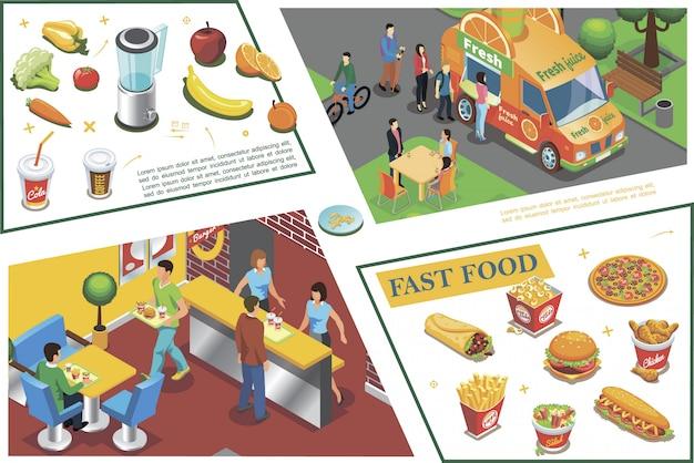 Composição colorida de fast-food isométrica com suco caminhão fastfood café pizza batatas fritas pernas de frango sanduíche hambúrguer legumes frutas Vetor grátis