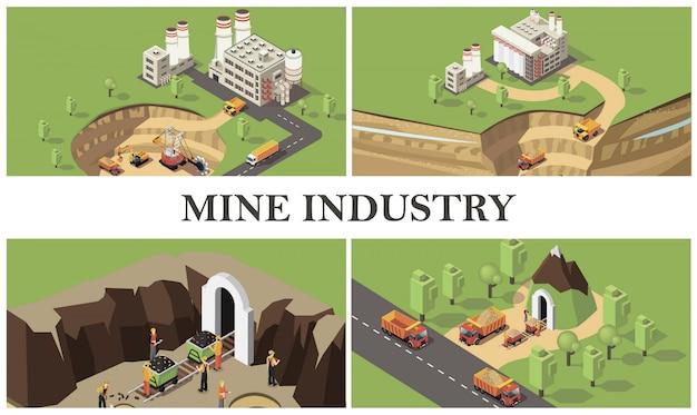 Composição colorida de indústria de mineração isométrica com fábricas máquinas industriais cavando pedreira e transportando recursos mineiros extraindo pedras preciosas Vetor grátis