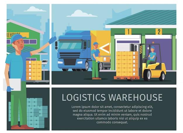 Composição colorida de logística de armazém plana com trabalhadores de armazenamento e homem dirigindo empilhadeira e transportando caixas para carregamento de caminhões Vetor grátis