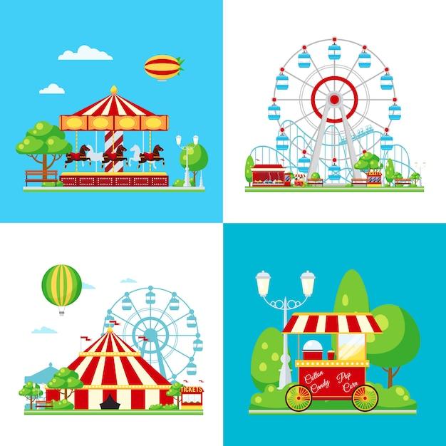 Composição colorida do parque de diversões Vetor grátis