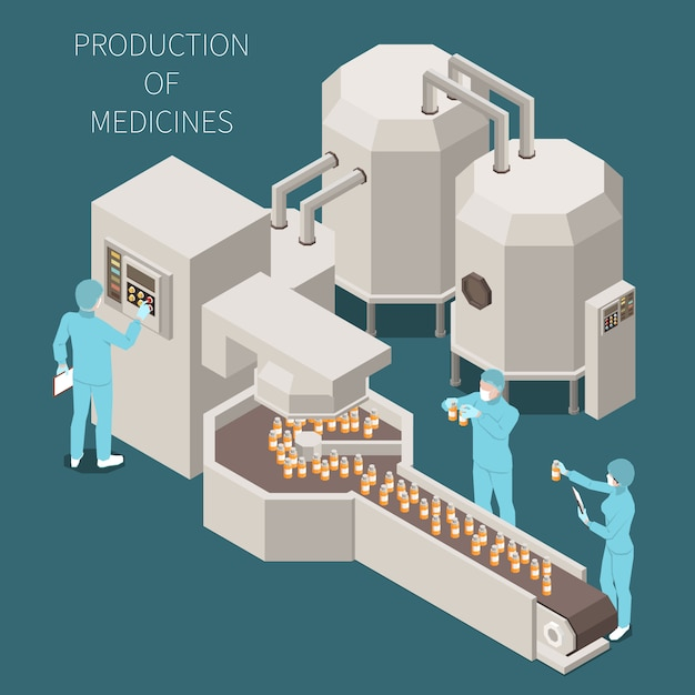 Composição colorida isométrica de produção farmacêutica com produção de descrições de medicamentos e processo de trabalho na ilustração de laboratório Vetor grátis