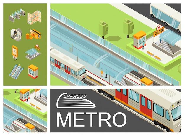 Composição colorida isométrica metro com passageiros de estação de metrô trens cartões de viagem de barramento de ônibus cartões de mapa placa de informações de torniquetes de túnel rolante Vetor grátis