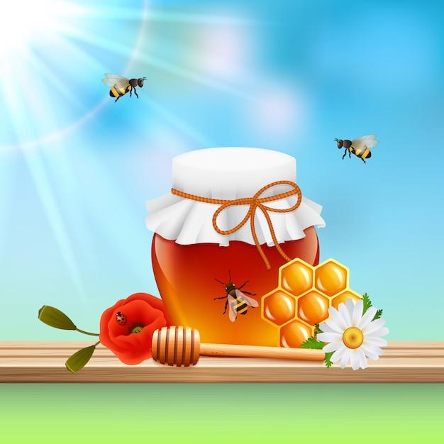 Composição colorida mel Vetor grátis