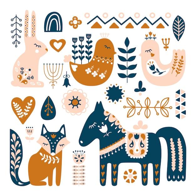 Composição com animais de arte popular e elementos decorativos. Vetor Premium