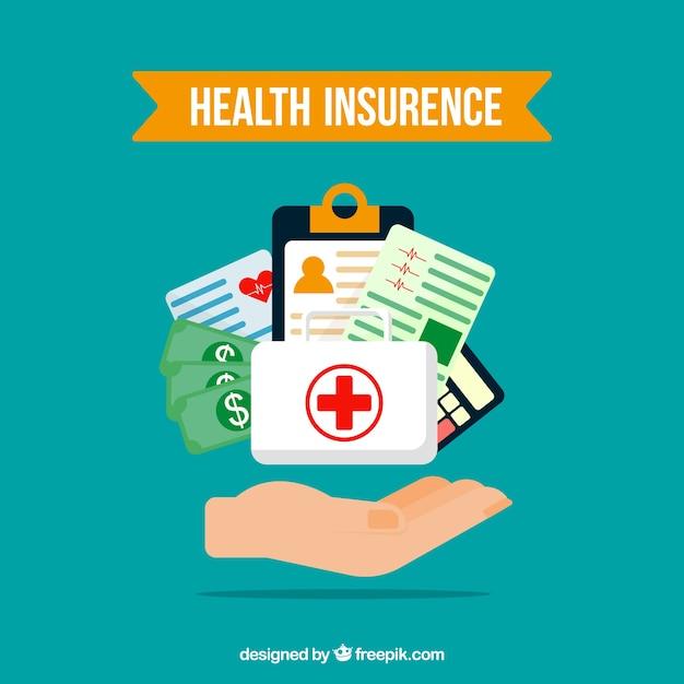 Composição com elementos de seguro de saúde e mão Vetor grátis