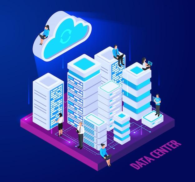 Composição conceitual isométrica de serviços em nuvem com imagens de racks de servidor e personagens de pessoas pequenas com ilustração vetorial de texto Vetor grátis