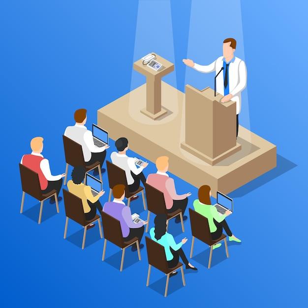 Composição da conversa da conferência dos doutores Vetor grátis