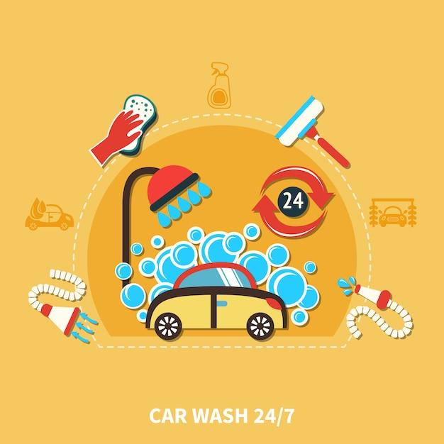 Composição da lavagem de carros 24h Vetor grátis