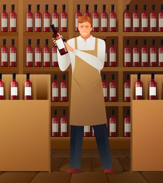 Composição da produção de vinho Vetor grátis