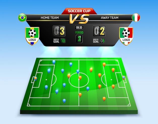 Composição da transmissão do torneio de futebol Vetor grátis