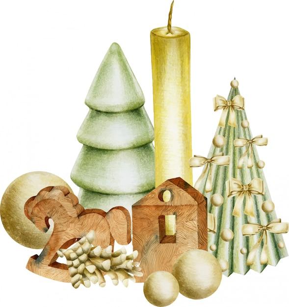 Composição das decorações de natal (velas, brinquedos de madeira, árvores de natal) Vetor Premium