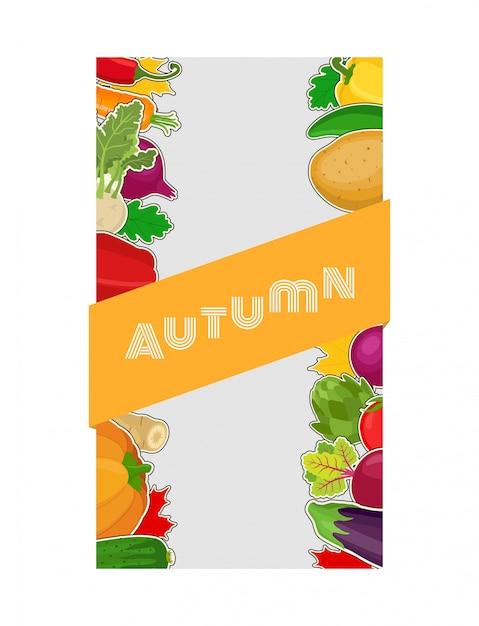 Composição de alimentos vegetais, outono Vetor Premium