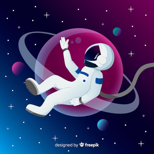 Composição de astronauta moderna com design plano Vetor grátis