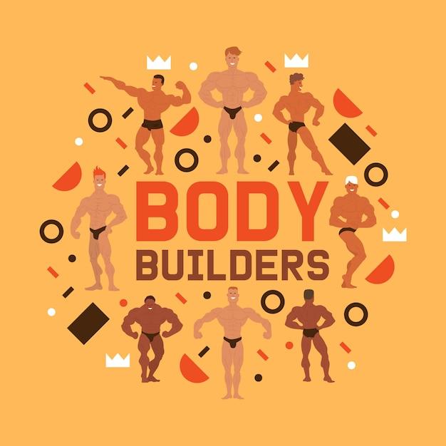 Composição de caracteres de física de homens. homens de fisiculturista muscular flexionando seus músculos. modelos de fitness, posando, musculação. desportistas no ginásio. pessoas fortes. Vetor Premium