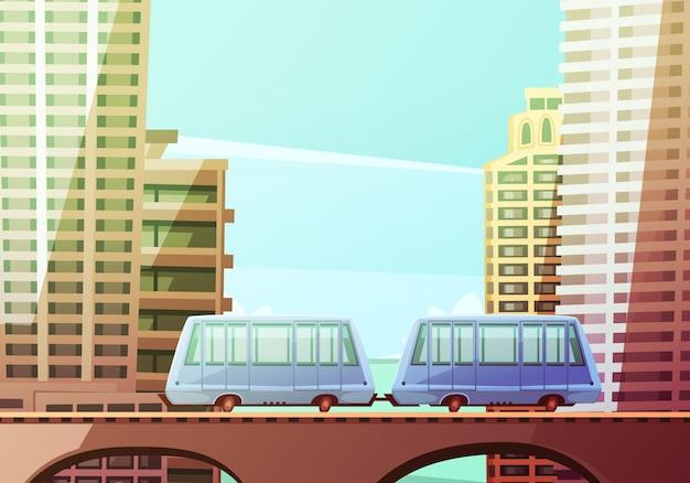 Composição de centro dos desenhos animados de miami com dois vagões de monotrilho suspenso Vetor grátis