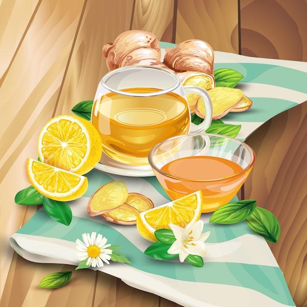 Composição de chá de gengibre em fundo de madeira Vetor grátis