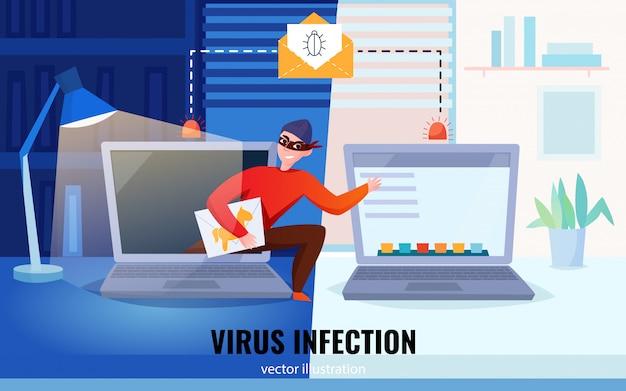 Composição de computadores hacker plana com manchete de infecção por vírus e hacker roubam ilustração de informações Vetor grátis