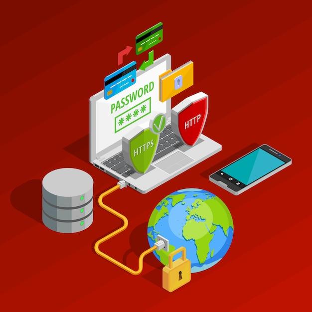 Composição de conceito de proteção de dados Vetor grátis