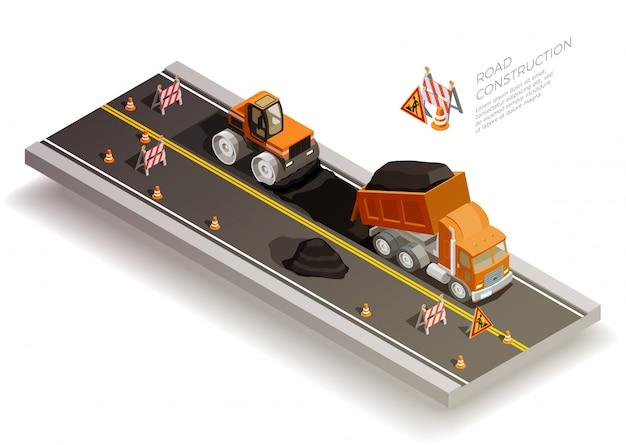 Composição de construção de obras rodoviárias Vetor grátis