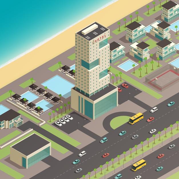 Composição de construtor de cidade sul isométrica Vetor grátis