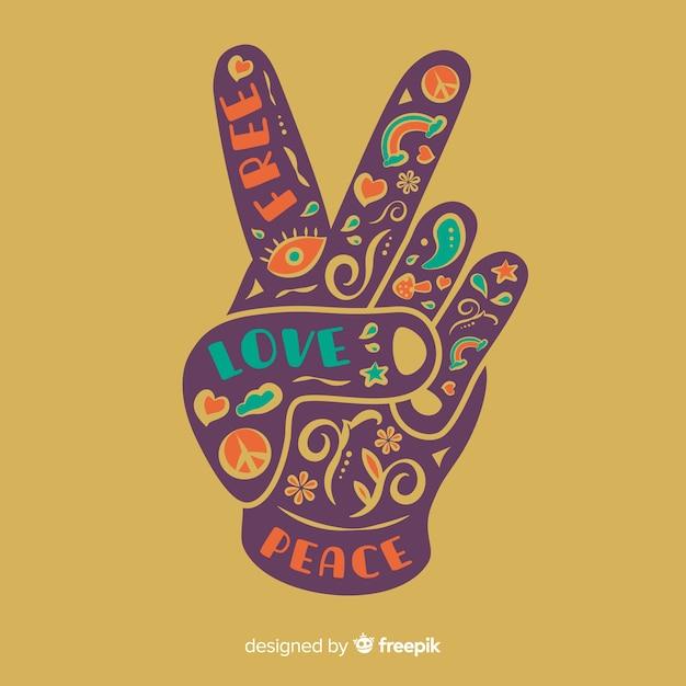 Composição de dedos linda paz com estilo colorido Vetor grátis