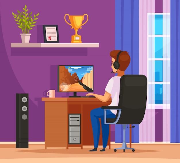 Composição de desenhos animados de personagem de jogos cybersport com jovem usando fone de ouvido na frente do computador desktop Vetor grátis