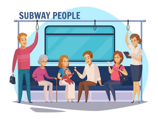 Composição de desenhos animados de pessoas subterrâneas de metrô Vetor grátis