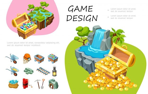 Composição de design de jogos dos desenhos animados com baús de tesouro de pedras preciosas e moedas frias cachoeira árvores elementos de mineração Vetor Premium