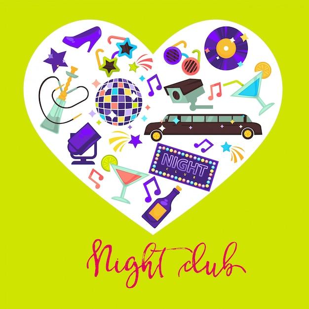 Composição de design promocional de clube de noite com atributos para diversão dentro do coração Vetor Premium