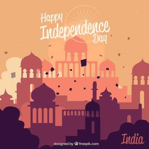 Composição de dia da independência de india com design plano Vetor grátis