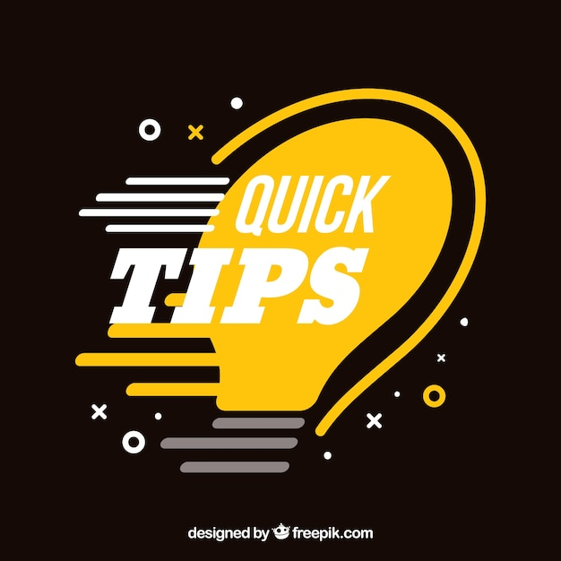 Composição de dicas rápidas com lâmpada Vetor grátis