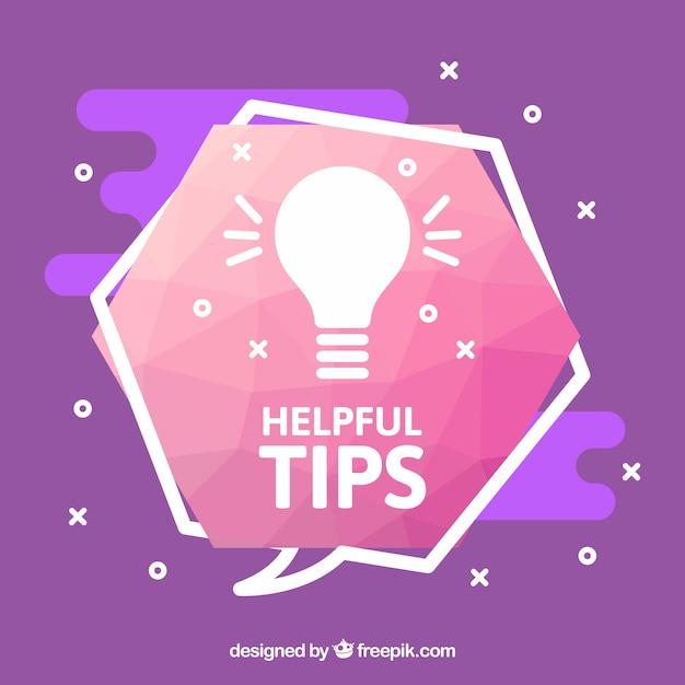 Composição de dicas úteis com lâmpada Vetor grátis