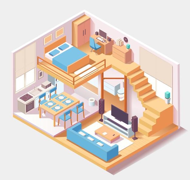 Composição de diferentes quartos de casa azul isométrica Vetor Premium