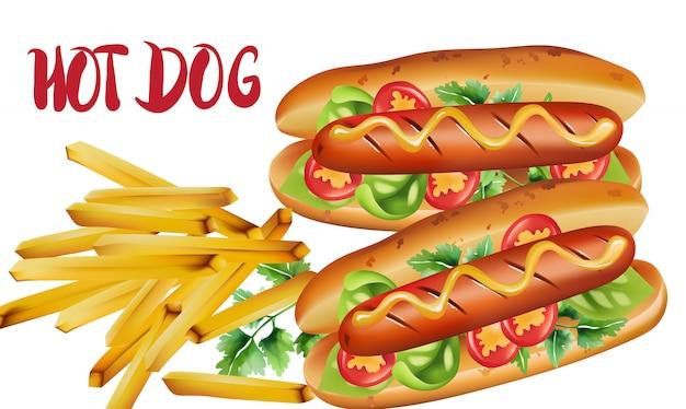Composição de dois cachorros-quentes com tomate cereja, manjericão, salsa e mostarda, perto de uma porção de batatas fritas Vetor grátis
