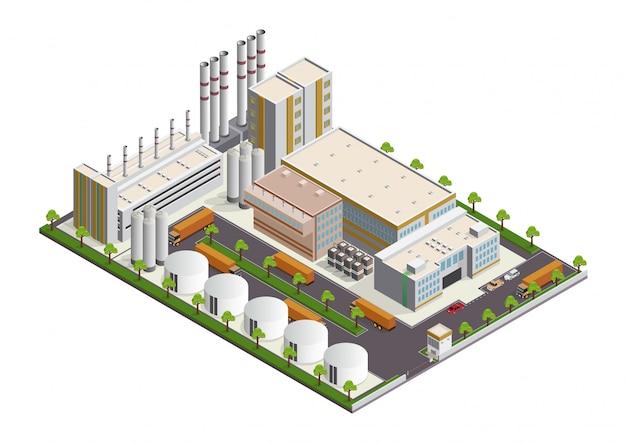 Composição de edifícios industriais isométrica com vista das instalações Vetor Premium