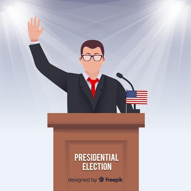 Composição de eleição presidencial com design plano Vetor grátis