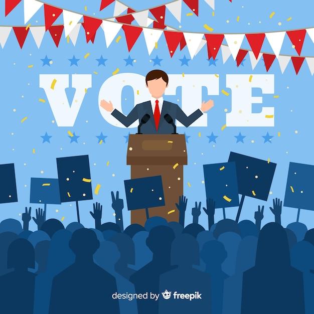 Composição de eleição presidencial com design plano Vetor Premium