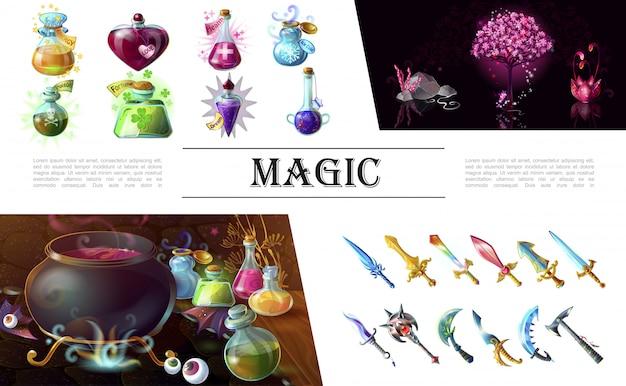Composição de elementos de jogo dos desenhos animados com espadas medievais coloridas maça machado fantasia árvore flor caldeirão e garrafas de poções mágicas Vetor grátis