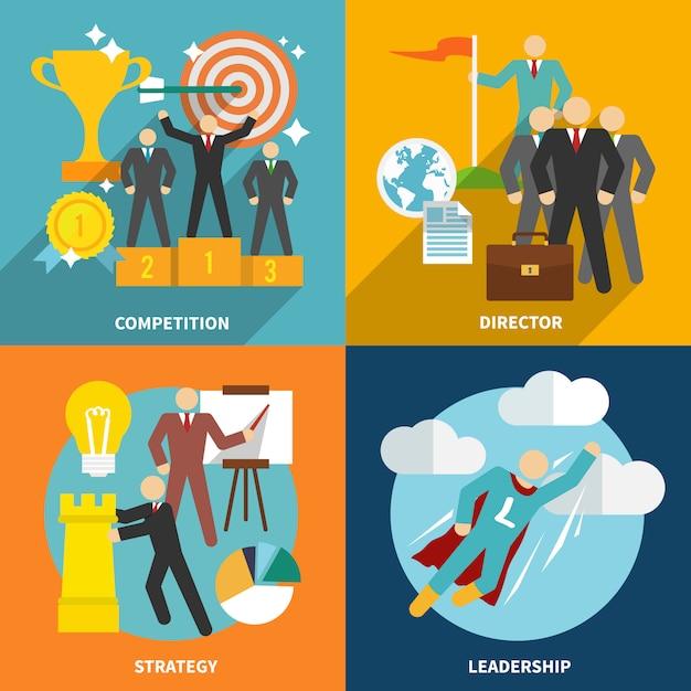 Composição de elementos de liderança e personagens planas Vetor grátis
